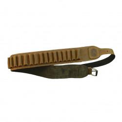Cartuccera per carabina Artipel in pelle marrone calibro 36 e 410 mod. CA04