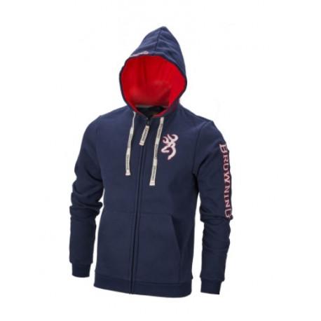 Felpa Browning blue con zip e cappuccio mod. 3018439504